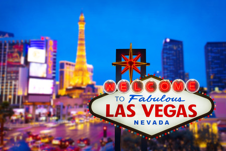 Welcome to fabulous Las vegas Nevada sign with blur strip road