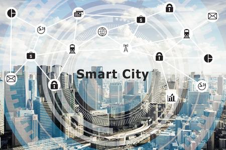 Photo pour Smart city Internet of Things and Information Communication Technology - image libre de droit