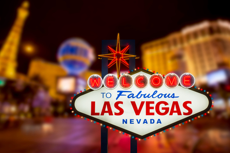 Photo for LAS VEGAS - SEP 18 : Welcome to fabulous Las Vegas neon sign with Las Vegas strip road background View of the strip on September 18, 2019 - Royalty Free Image