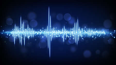 blue audio waveform. computer generated technology background