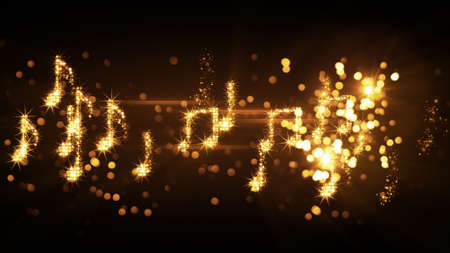 glittering music notes and fireworks. computer generated abstract illustration
