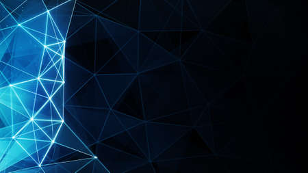 Photo pour glowing blue polygon background. Computer generated abstract graphic - image libre de droit