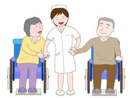 Nurses have fun chatting with the elderly in wheelchairs