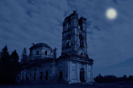 The ruins of a big church in the night