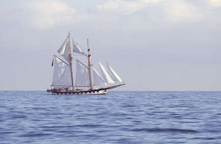 Ship with white sails in the calm sea