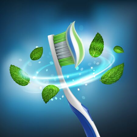 3D realistic isolated vector whirlwind of mint leaves around a toothbrush with extruded paste