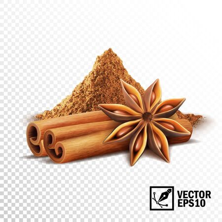 3d realistic vector set of cinnamon sticks, anise stars and a pile of cinnamon
