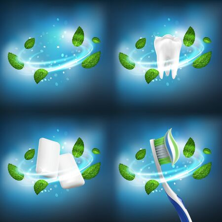 3D realistic vector dental set (separate vortex leaves of mint,healthy tooth, gum pellets, toothbrush with extruded toothpaste)