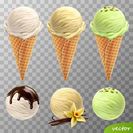 3d realistic vector ice cream scoops in a waffle cones (melted chocolateá, vanilla flower and sticks, pistachios)