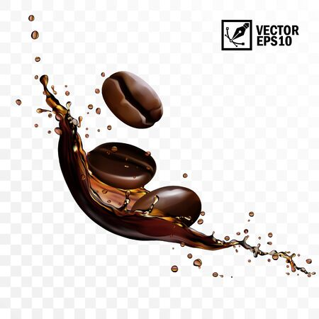 3D Realistic transparent isolated vector falling splash of coffee with beans, editable handmade mesh
