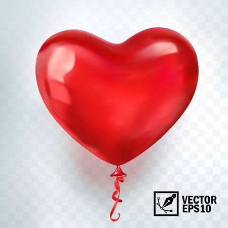 Illustration for realistic vector red balloon in form of heart, greeting card for celebrating, valentine's day and World Heart Day - Royalty Free Image