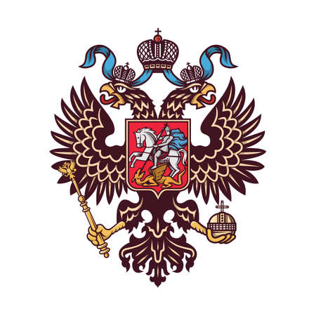 Illustration for Russian coat of arms (double-headed eagle). Vector illustration. - Royalty Free Image