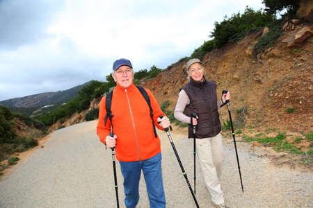 Senior couple on a walking day