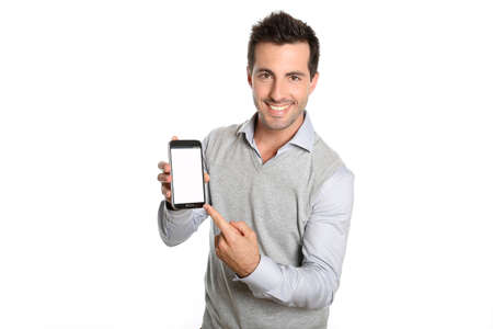 Smiling man pointing at smartphone screen