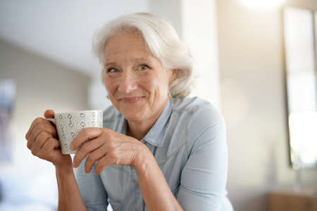 Photo for Portrait of smiling senior woman with white hair - Royalty Free Image