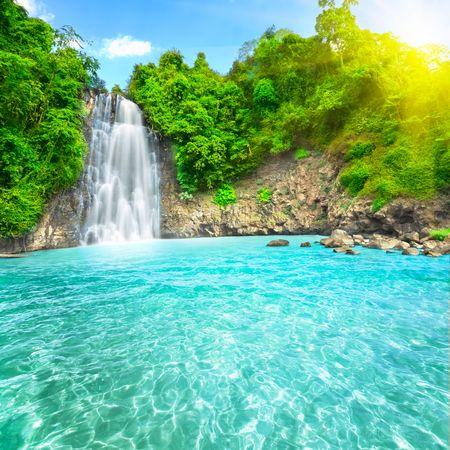 Beautiful Dambri waterfall in tropical forest. Vietnam