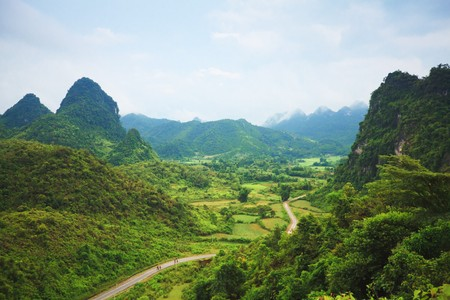 Beautiful mountain valley. Cao Banhg province. Northern Vietnam.