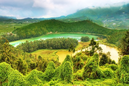 Lakes Telaga Warna and Cisaat at plateau Dieng