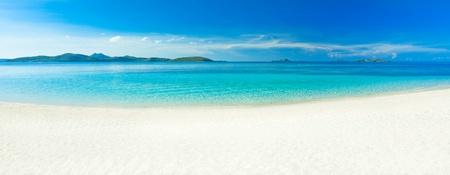 Panorama of the tropical sandy beach Malcapuya
