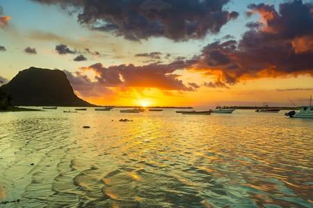 Amazing view of Le Morne Brabant at sunset. Mauritius island.