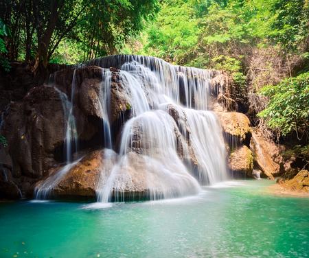 Photo for Beautiful waterfall Huai Mae Khamin at Kanchanaburi Province in west Thailand - Royalty Free Image