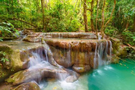 Photo for Beautiful waterfall at Erawan national park, Kanchanaburi Province in west Thailand - Royalty Free Image
