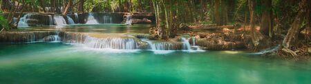Photo for Beautiful waterfall Huai Mae Khamin at Kanchanaburi Province in west Thailand. Panorama - Royalty Free Image