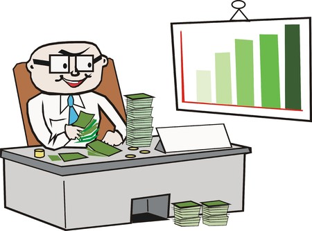 Businessman counting money cartoon