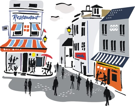 Illustration of Montmartre street scene, Paris.
