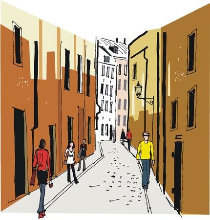 Vector illustration of Old Town, Stockholm