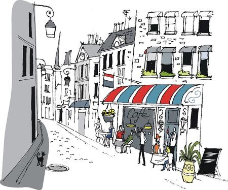 Vector illustration of cafe in Paris, France.