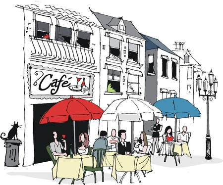 Vector illustration of French cafe scene