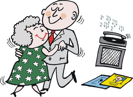 cartoon of mature age couple dancing.