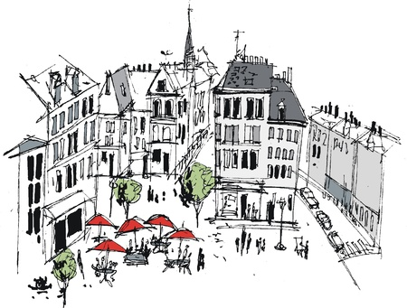 Vector illustration of French provincial town, Boulogne