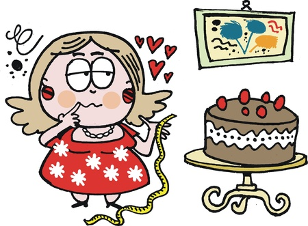 Vector cartoon of fat woman with chocolate cake