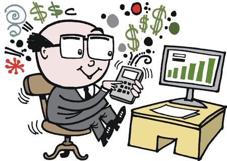 cartoon of man using calculator