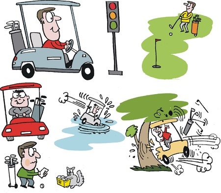 cartoon selection of golfers with carts