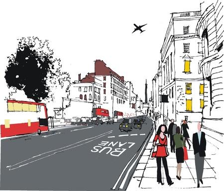 illustration of commuters on London city street