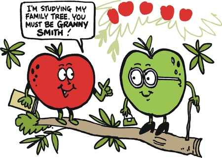 cartoon of funny apples on tree branch