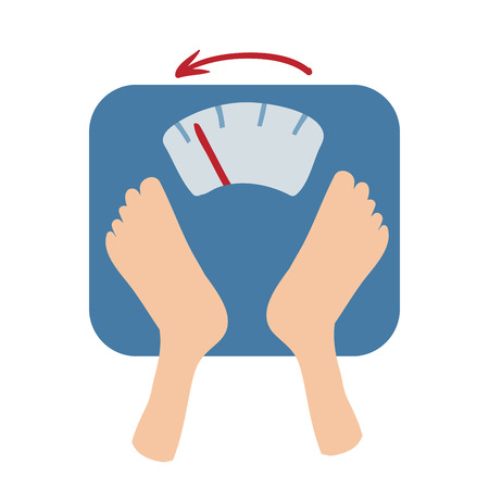 Ilustración de Scales detect weight loss by number and an arrow. - Imagen libre de derechos