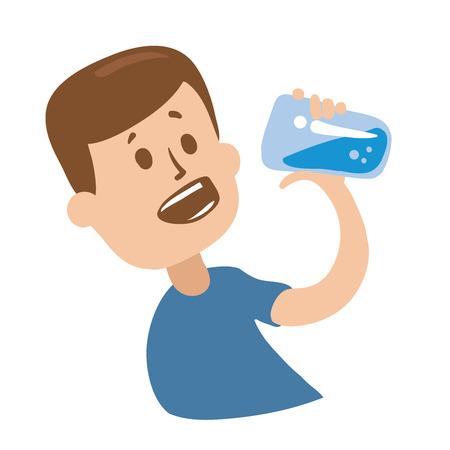 Photo pour Cheerful guy drinking water. - image libre de droit