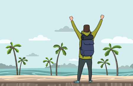 A young happy man, back view of backpacker with raised hands on the sea beach. Hiker, Explorer. A symbol of success. Vector Illustration with copy space.