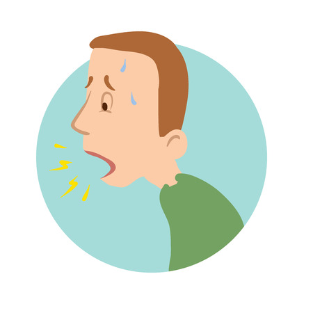 Illustration pour Young man coughing, shortness of breath, sickness icon. Vector flat illustration, isolated on white background. - image libre de droit