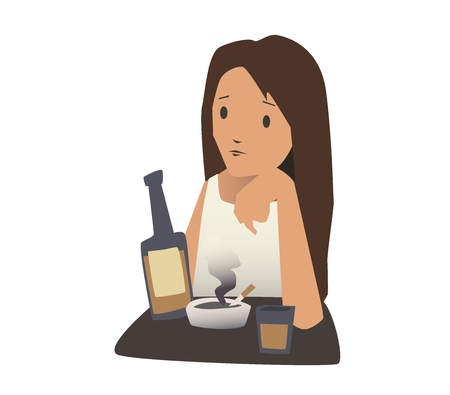 Illustrazione per The girl sitting at a table with a cigarette and a bottle of alcohol. Vector illustration, isolated on white background. - Immagini Royalty Free