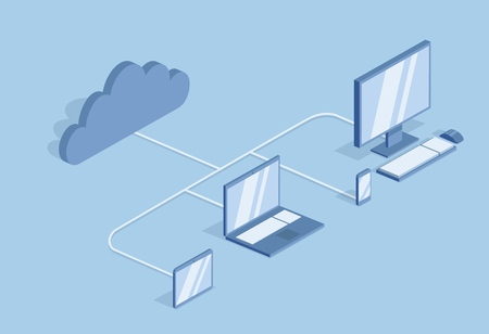Cloud computing concept. Information technology. Desktop PC, laptop and mobile devises synced in the cloud. Isometric vector illustration, isolated on blue background.