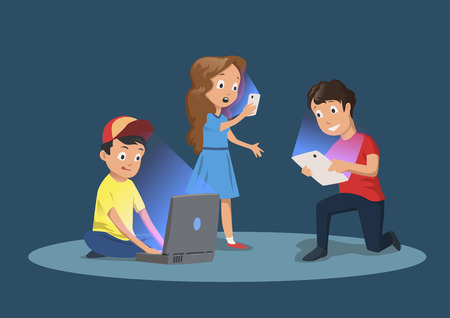 Ilustración de Children's gadget dependence. Kids with electronic devices. Cartoon vector illustration, isolated on dark blue background. - Imagen libre de derechos