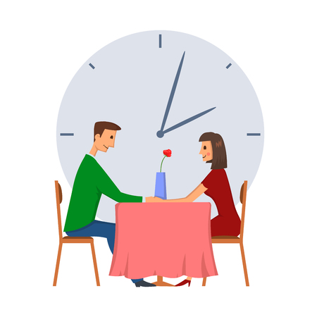Illustration pour Speed dating, concept vector illustration, isolated on white background. Young man and woman on a date. - image libre de droit