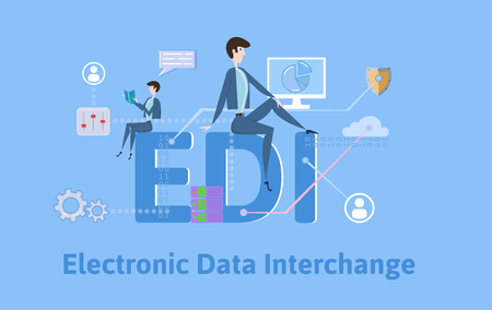 Illustration pour EDI, Electronic Data Interchange. Concept with keywords, letters and icons. Colored flat vector illustration on blue background. - image libre de droit
