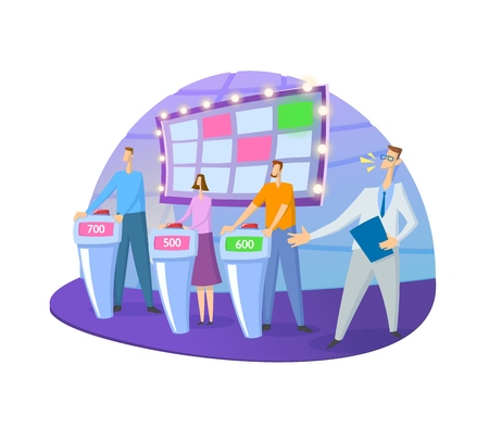 Ilustración de Quiz show TV-studio with host and contestants. Screen, stands and lights. Colorful flat vector illustration. Isolated on white background. - Imagen libre de derechos