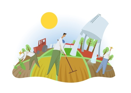 Illustration for People working in the field, fisheye view. Farming, ecotourism, kibbutz. Colorful flat vector illustration. Isolated on white background. - Royalty Free Image